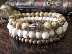 Mens Buddha Bracelet Set - (3 Bracelets) Picture Jasper Beads, Sandalwood, Tulsi Wood. Boho mens fashion #boho