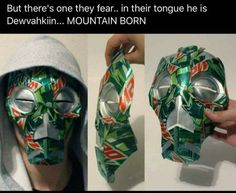 If Skyrim masks existed in the real world, it would only make sense that there be Mountain Dew cans involved. I decided to deem this mask a. The Elder Scrolls, Elder Scrolls Skyrim, Fallout, Dragon Priest Masks, Skyrim Funny, Videogames, Video Game Memes, Pokemon, Character Art