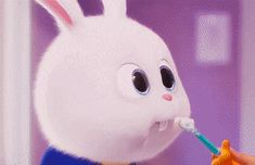 When he puts it in the right way 😂 Cute Disney Wallpaper, Wallpaper Iphone Cute, Cute Cartoon Wallpapers, Cute Bunny Cartoon, Cute Cartoon Pictures, Snowball Rabbit, Pets Movie, 2 Movie, Rabbit Wallpaper