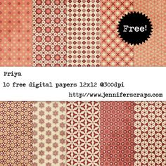 Priya - Free Digital Paper Pack  - orange and cranberry - personal and commercial use ok. scrapbook papers
