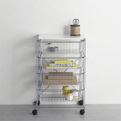 Max Chrome 4-Drawer Cart With White Top contemporary storage and organization