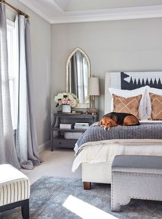 Chic and modern gray, white, and beige master bedroom design - Bedroom Decor & Decorating Ideas - Stylist Natalie Nassar's master bedroom in her Atlanta home - howtodecorate.com