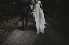 couple back, waking, dress wedding bride