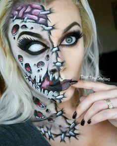 Half face zombie Halloween facepaint makeup