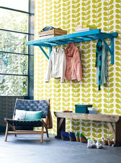 Ladder shelf - Idea for clothing storage in our room? We could do a long ladder or one small ladder apiece, then a bench beneath with shoe storage.