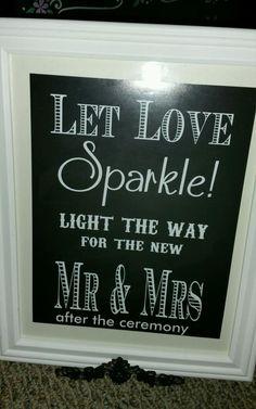 Wedding sign for sparklers