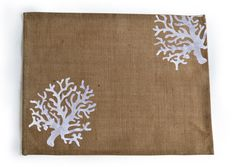 Burlap Placemats Set Of 4 White Coral Embroidered by AmoreBeaute