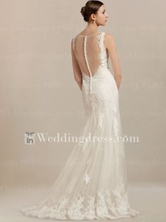 Lace wedding dress is exquisitely designed to fit any body type. Fitted bodice with ultra-feminine V-neckline features sheer full back.