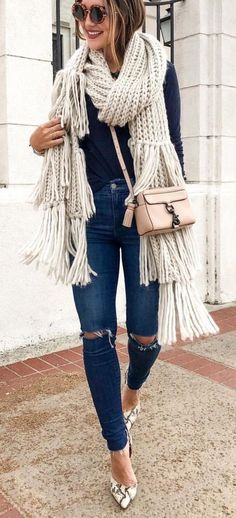 what to wear with a knit scarf: bag + top + rips