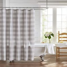 Farmhouse Living Buffalo Check Shower Curtain - X - Gray/White - Elrene Home Fashions : Target Grey Curtains, Fabric Shower Curtains, Country Curtains, Farmhouse Shower Curtain, Shabby Chic Shower Curtain, Farmhouse Kitchen Curtains, Farmhouse Bathrooms, Buffalo Check Fabric, Target
