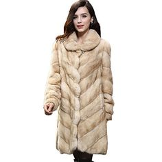 Fur Story 161115 Women's Long Real Mink Fur Coat with Tur… Mink Fur, Fur Coat, Leather, Jackets, Clothes, Dresses, Fashion, Down Jackets, Outfits