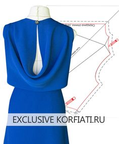 Pattern of dresses with curtains on the back by Anatasia Korfiati Dress Sewing Patterns, Clothing Patterns, Sewing Clothes, Diy Clothes, Making Fabric Flowers, Techniques Couture, Collar Pattern, Pattern Cutting, Pattern Drafting