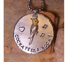 Cockatiels Rock! Handcrafted Bird Necklace from Birdbrain Gifts $27.95