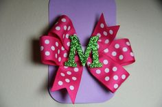 Hot Pink with White Polka Dots and Green by ruffles2ribbons, $3.00