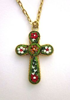Micro Mosaic Vintage Cross, Cross Pendant