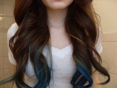 blue tips with brunette...Thinking about this for summer time....