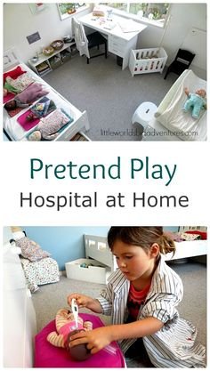 Make a Pretend Play Hospital at Home! | See how I transformed my daughter's bedroom in a pretend play hospital! Setting up dramatic play scenes can be easily done with everyday materials at home. The perfect instant kid activity! | Little Worlds Big Adventures
