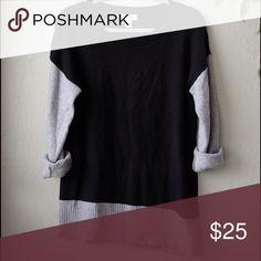 Loft asymmetrical colorblock sweater Black and grey asymmetrical tunic sweater! Barely work! Size Medium LOFT Sweaters Crew & Scoop Necks