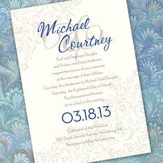 silver and blue wedding invitation bridal shower by CeceliaJane, $20.00
