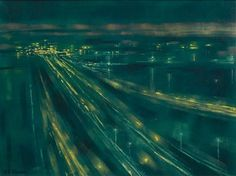 Richard Florsheim's 'Jet Landings' pictures the blue-green blow of Chicago street lights in the 1960s (Courtesy artnet.com)