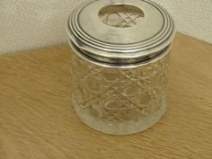 Lovely Antique Cut Glass and Silver hair tidy.