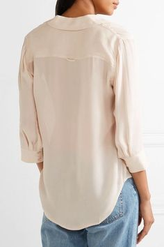 L'Agence - Ryan Silk-georgette Shirt - Peach - x small