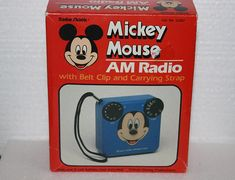 Vintage 1970s Mickey Mouse Transistor Radio In Original Box Original Packing