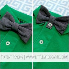 Baby bow tie. With button hole so it attaches right on with no strap!  Might have to make the nephew a few of these.