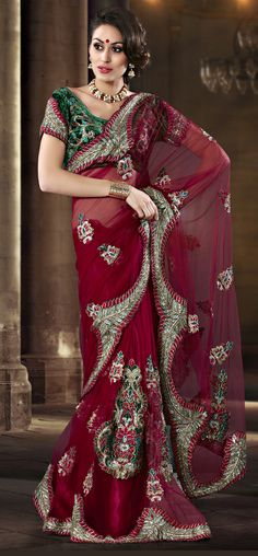 Embrodried And Resham Work Latest Red Net Saree  Item Code: SASJ3302D  PRICE:- 6483/- INR  Style: Contemporary Saree occasion: Party, Festival, Reception fabric: Faux Georgette, Net color: Red Catalog No.: 1152 work: Embroidered, Resham  SHOP THIS SAREE FROM HERE http://www.vivaahsurat.com/sarees/embrodried-and-resham-work-latest-red-net-saree-sasj3302d