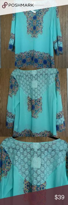 Fig and flower sheer tunic top 1x This is a new with tag tunic top. Size 1x. It's sheer top with lace on shoulder, back and sleeves. 3/4 sleeves It's polyester and lace is 85 % cotton and 15% nylon. fig and flower  Tops Tunics