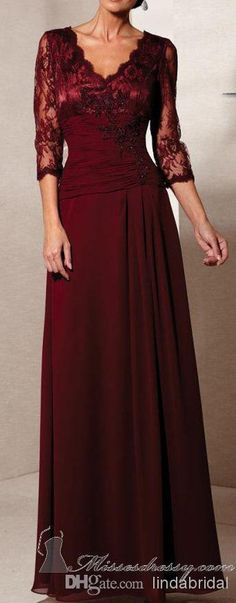 Wholesale 2014 New Plus Size Mother of the Bride Dresses Sheer Lace Neckline 3/4 Sleeves Full Length Burgundy Green Cream Mother of the Groom Dress, Free shipping, $102.24/Piece | DHgate Mobile