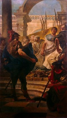 An 18th century painting painted by Giovanni Battista Tiepolo depicting Quintus Fabius Maximus before the Senate of Carthage demanding the surrender of Hannibal and his troops