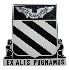 """""""Ex Alis Pugnamus"""" meaning """"We Fight on Wings"""". The wings represents the mission of the unit and their position above the stripes indicates the aviator flying above the organizations. Made of solid mahogany wood, this finely handcrafted plaque"""