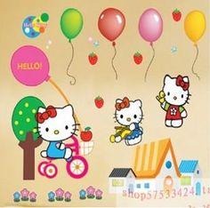 2014 nuovo cartone animato ragazzi ciao gattino home decor decorazione murale decalcomania autoadesivo della parete per la camera dei bambini