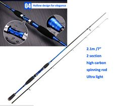 2.1m Carbon ultra light spinning fishing rod  lure wt.8-25g action M spining fishing pole lure rod 125g peche carpe accessoires