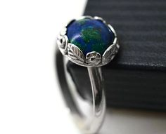 10mm Azurite Malachite Ring Silver Flower and Leaf by fifthheaven