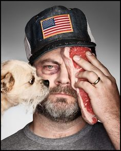 Parks & Recreation's Nick Offerman: Shirtless for 'GQ'!: Photo Nick Offerman goes shirtless for a feature in GQ's July issue, on newsstands now! Here is what the Parks and Recreation actor had to share with the… Nick Offerman, Celebrity Portraits, Fashion Portraits, Creative Portraits, Ron Swanson, Gq Magazine, Le Chef, Jack Nicholson, Big Guys