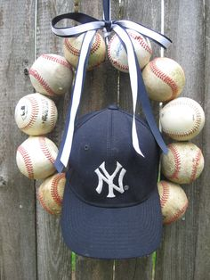 New York Yankees Baseball Love Wreath - Without Hat. $33.00, via Etsy.