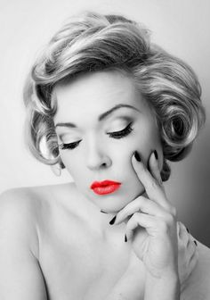 Retro Late 40s Pin-Up Style- black & white, with a touch of red- so classy