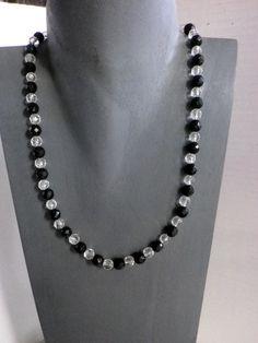Onyx - Onyx Collier trifft Bergkristall - ein Designerstück von sibea bei DaWanda