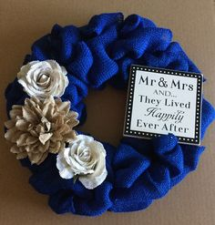 Have I mentioned how wreaths make for great wedding gifts? 🎩💍This super cute navy blue rustic wreath was purchased by my mom as a gift for my second cousins' wedding coming up 😊  #etsy #wreath #wedding #gift #giftidea #burlap #rustic #flowers #etsyseller #etsyshop #shoplocal #shopping #shop #smallbusiness #weddinggift #homedecor #home #allabouttheburlap #craft #makersgonnamake #mrandmrs