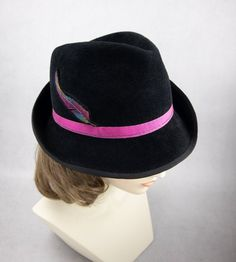 dd9f85242163 Women's Fedora with Embroidered Feather. Black Velour Fur Felt Hat. Bright  Pink Ribbon, Silk Embroidery. Ladies Black Hat. Couture Millinery
