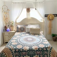 An array of color and prints, varying textures, billowing fabrics and layers of worldly decor, boho style interior is the most fun to create from the ground up. Bohemian Bedroom Design, Bohemian Interior, Bohemian Decor, Bohemian Gypsy, Bedroom Themes, Bedroom Designs, Bedroom Ideas, Bedrooms, Pink Bedding