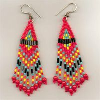 The Gathering Seed Bead Earrings - colours: bright red, orange, turquoise, yellow seed beads + black bugle beads + 4 mm orange beads - NATIVE AMERICAN ART