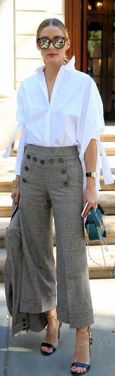 Olivia Palermo: Shirt – Carolina Herrera  Jacket and pants – Chelsea28  Shoes – Francesco Russo  Purse – Salar Milano  Sunglasses – Le Specs