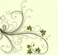 Floral swirls with leaves background