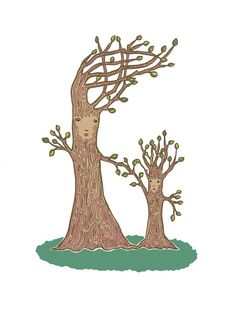 mama tree and baby tree - art print