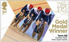 Gold Medal Winner stamp #5 - Cycling: Men's Team Sprint, Chris Hoy, Jason Kenny and Philip Hindes.