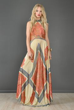 Ethnic 1970s Backless Halter Maxi Dress With 360 Sweep | BUSTOWN MODERN