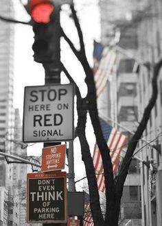 Street signs, New York City Photography - dorm decor - Flags red white blue - quirky Modern loft parking traffic light - 5x5 print. $15.00, via Etsy.